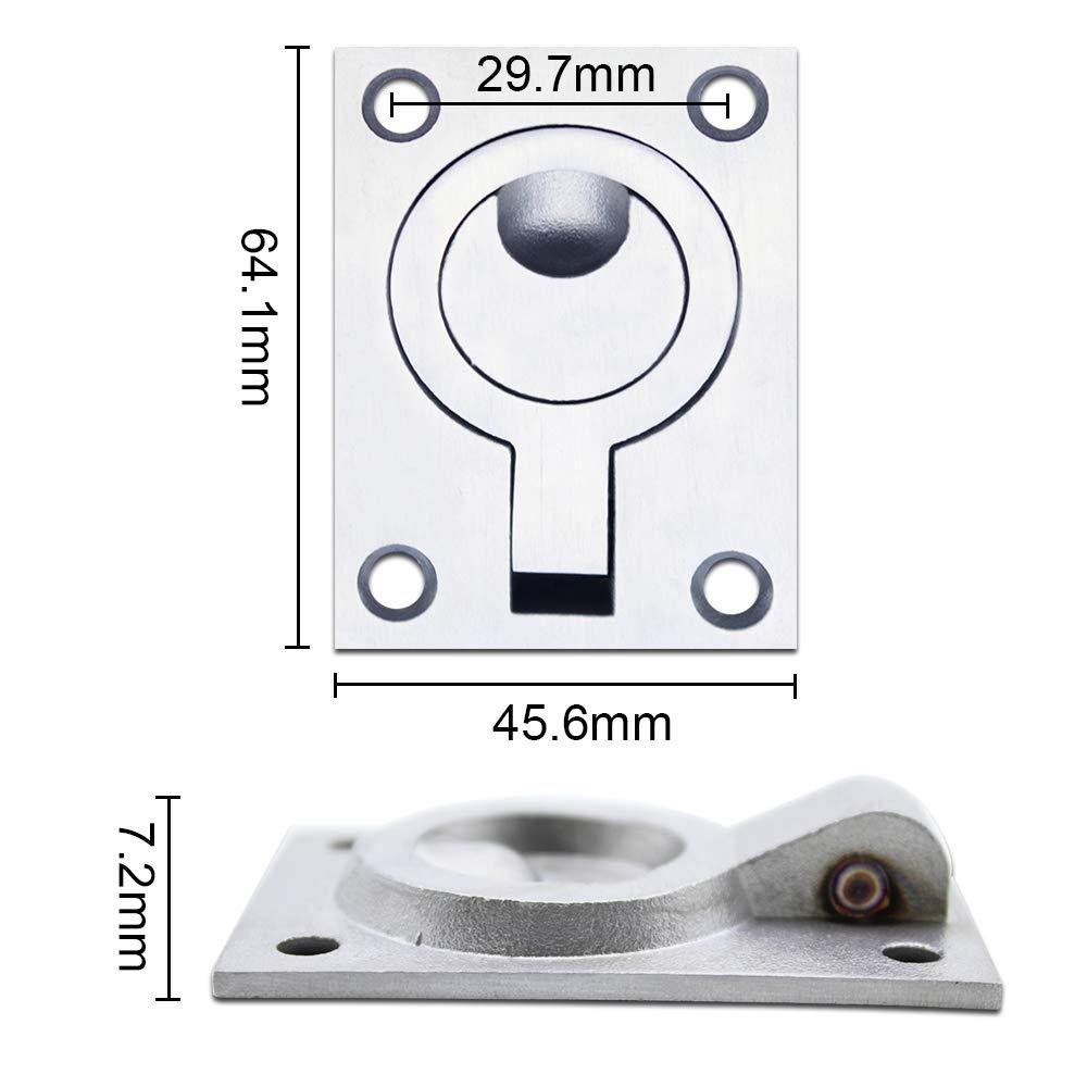 JaneYi Flush Ring Pull Handle Hatch Locker Cabinet Hidden Handle 64 x 46 mm 2 Pack Stainless Steel Marine Yacht Drawer Door Hardware