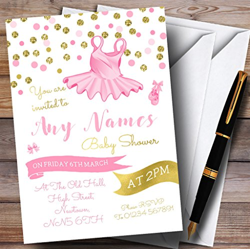 Pink Tutu Ballerina Ballet Invitations Baby Shower Invitations