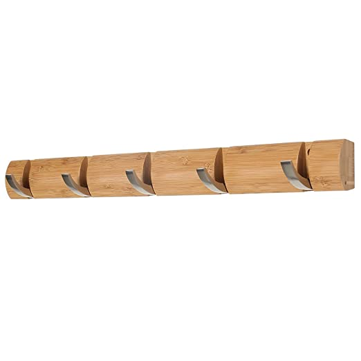 LANGRIA Perchero de Pared de Madera de Bambú con 5 Ganchos Curvos Plegables en Metal para Colgar Abrigos Chaquetas Paraguas Capacidad 10 Kg (61.2 x 3 ...