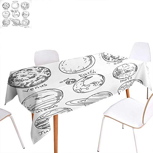 familytaste Doodle Dinner Picnic Table ClothPlanets of Solar System Sun Mercury Earth Moon Mars Neptune Saturn Jupiter Science Waterproof Table Cover for Kitchen 52