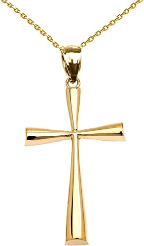 Solid 10k Yellow Gold Simple Cross Pendant Necklace 1 5 Inches