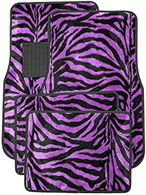 Truck and 1 Key Fob Zebra Red A Set of 4 Universal Fit Animal Print Carpet Floor Mats for Cars
