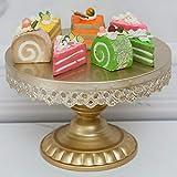 18K Gold Antique Metal Cake Stand, Round Cupcake Stands, Wedding Birthday Party Dessert Cupcake Pedestal/Display/Plate (10in)