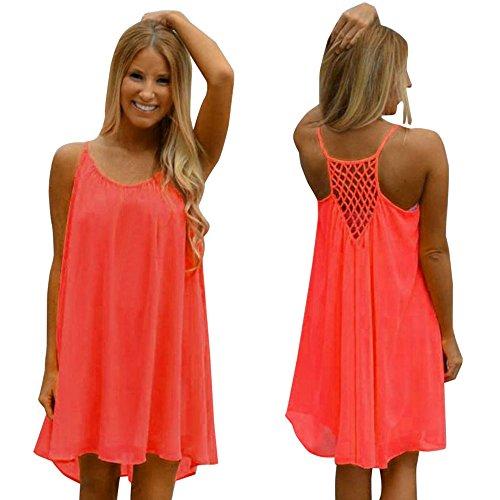 Franterd Dress Womens Spaghetti Strap Back Howllow Out Chiffon Beach Short Dress (Teen Sexy Dress)