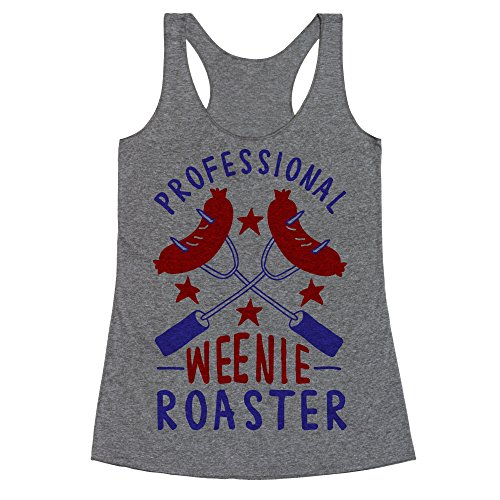 LookHUMAN Professional Weenie Roaster Heathered Gray Large Womens Triblend Racerback - Gray Roaster