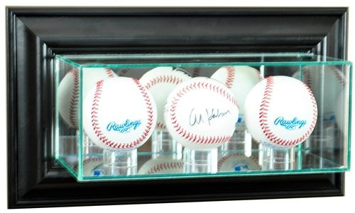 (Triple Baseball Wall Mounted Glass Display Case with Black Frame)