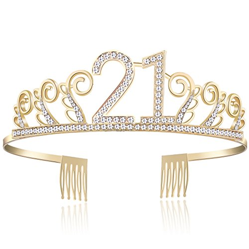 BABEYOND Crystal Birthday Tiara Rhinestone Princess Crown Happy Birthday Crowns Silver Diamante Happy 18/20/21/30/40/50/60/90th Birthday (Gold-21st)