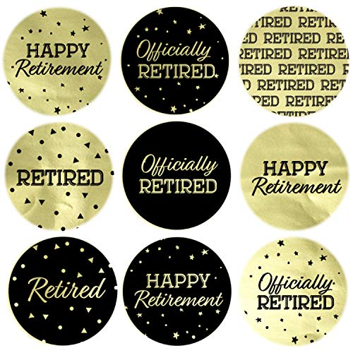 (Black and Gold Retirement Party Favor Labels | Shiny Foil | 198 Stickers)