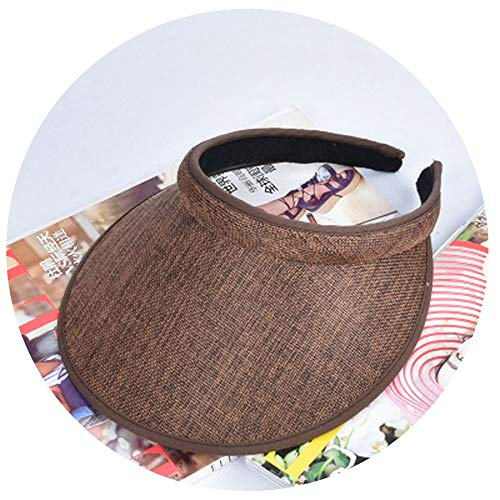 SpringAutumn New Big Wide Brim Straw Sun Visors hat Women/GILR Fashion Empty Top Caps Parent-Child Cap Dark ()