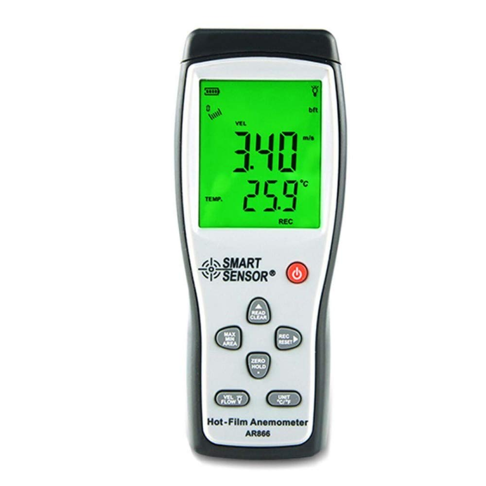 Toptekits Digital Hot-Film Anemometer Wind Speed Meter Air Velocity Temperature Measurement 40M//S Data Hold to PC via USB Diagnostic-Tool