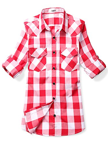 OCHENTA Women's Mid Long Style Roll Up Sleeve Plaid Shirt White Red Size L