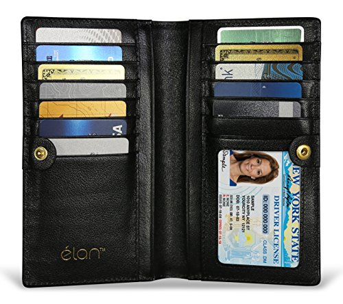 LUXURIOUS RFID BLOCKING WALLET FOR WOMEN - Credit Card Protector While You Travel - Genuine Leather Clutch with the Latest RFID Blocking Technology (Gold Logo) - Logo Clutch Wallet