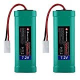Powerextra 2 pcs 7.2V 3000mAh High Capacity 6-Cell NiMH Battery Packs with Ket Connectors Compatiable RC Cars, RC Truck, RC Airplane, RC Helicopter, RC Boat