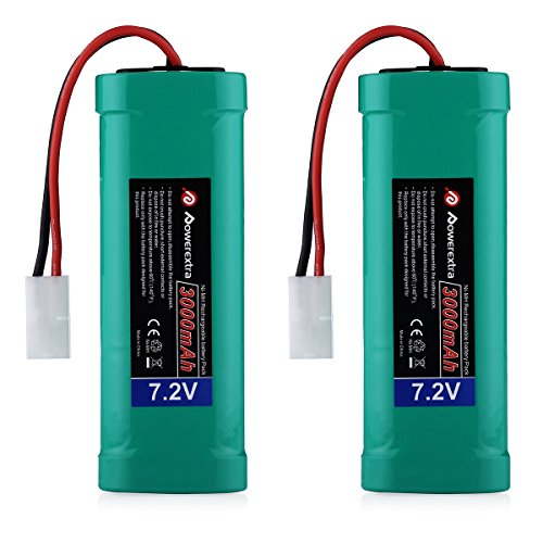 Rc Cars Batteries (Powerextra 2 pcs 7.2V 3000mAh Flat NiMH High Power Battery Packs with Tamiya Connectors for KET Connectors for RC Cars, RC Truck, RC Airplane, RC Helicopter, RC Boat)