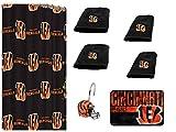 NFL Cincinnati Bengals 18 Piece Bath Ensemble: Set Includes 1 Shower Curtain, 12 Shower Hooks, 2 Bath Towels, 2 Hand Towels 1 Bath mat