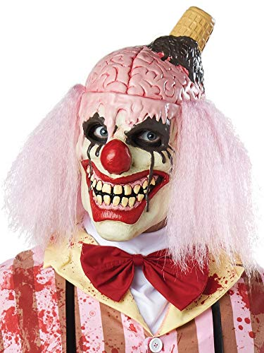 Mens Ladies I SCREAM Halloween Killer Clown Overhead Mask Fancy Dress Costume Outfit -