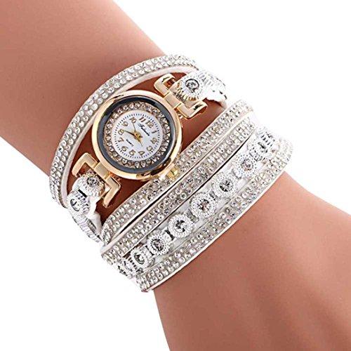 Oksale Women Fashion Winding Bracelet Metal Decorative Circle Quartz Watch (White)