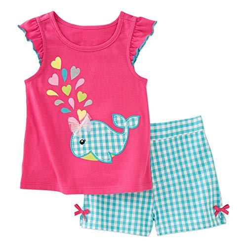 Toddler Little Baby Girl Cotton Short Sleeveless Tee Shirt Tank Top Shorts Pant 2PC Set -