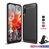 SCL [Black] Case for Samsung Galaxy A50, Carbon Fibre Effect Gel Grip Protection Cover [Anti Scratch][Anti Collision] Compatible with The Samsung Galaxy A50