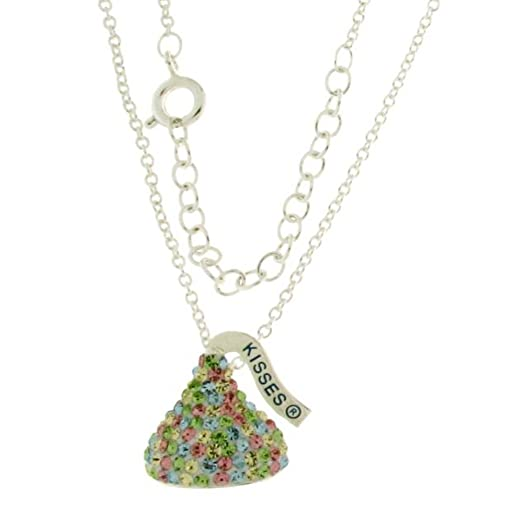 Amazon hershey kiss rainbow crystal pendant silver tone w18 hershey kiss rainbow crystal pendant silver tone w18quot chain mozeypictures Image collections