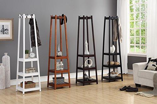 Roundhill Furniture Vassen Coat Rack with 3-Tier Storage Shelves, White Finish