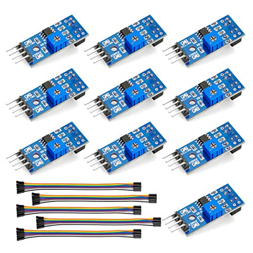 (OSOYOO 10PCS TCRT5000 Infrared Reflective IR Photoelectric Switch Barrier Line Track Sensor Module for Arduino Smart Car Robot with 5 8Pin Female to Female Jumper Wires)