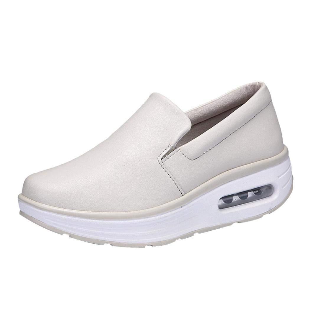 Dragon868 Sneakers Donna Scarpe Zeppa Scarpe Da Passeggio Donna Scarpe Basculanti Comode Casual Beige