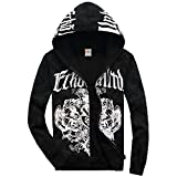 DSYLD Mens Hipster Hip Hop Hoodie Coat Print Hoodies Sport Hooded Sweatshirts Fashion Pullover Hoodie(S-XXL) White Black (Color : White, Size : S)