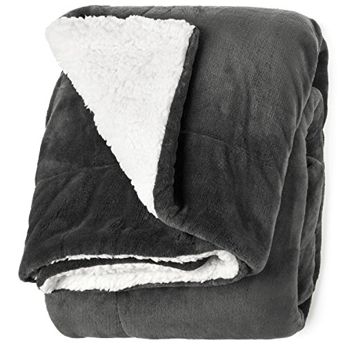 "Life Comfort Microfiber Plush Polyester 60""x70"" Large All Season Blanket for Bed or Couch Ultimate Sherpa Throw, Gray (Sherpa Blanket)"