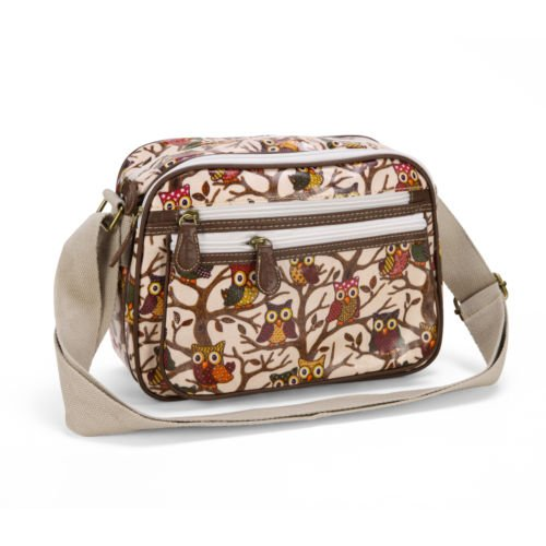 The Pecan Man Owl Beige Oilcloth Cross Body Satchel Shoulder Bag Polka Dots Owl - Outlets Polo Jackson