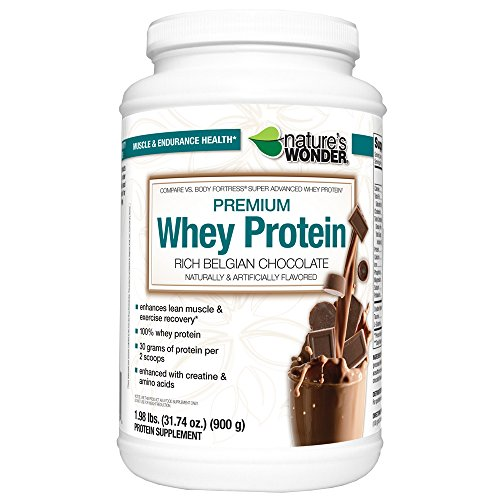 Nature's Wonder Whey Protein Powder, Rich Belgian Chocolate, 1.984 Pound, Compare vs. Body Fortress® Super Advanced Whey Protein