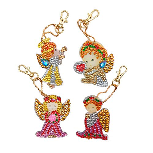 4Pcs DIY Toy Christmas Tree 5D Diamond Painting KeyRing Key Chain Pendant Gift Little Pig Fox squirrel Little Angel With ()