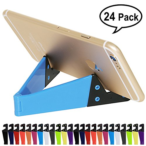 Honsky Pack of 24, Pocket-sized V Smart Phone Holder Tablet Stands Universal Portable Foldable Plastic Small Cellphone Holders, Smartphone Mounts, Mobile Cell Phone Mount - (Bundle, Multi-Color) (Colored Slim Multi Cd)
