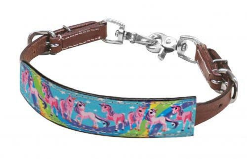 Showman Pink Purple Turquoise Pony Unicorn Print Rainbow Leather Wither Strap for Saddle 3