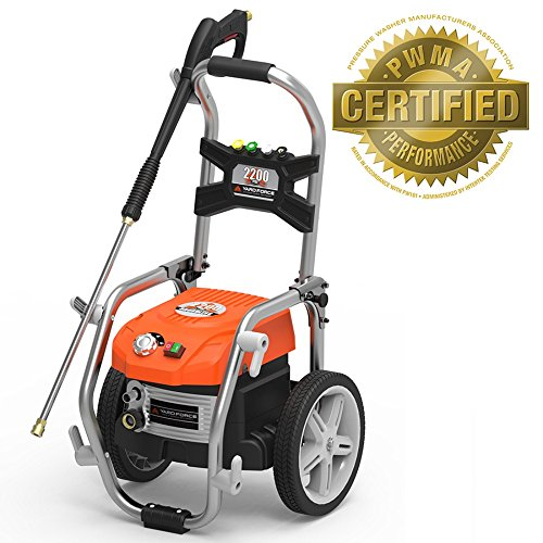 Yard Force PSI Brushless Electric Pressure Washer with Adjustable Pressure and BONUS Turbo Nozzle - YF2200BL (Gallons Electric Parts Washer)