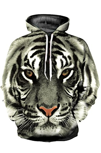 (Haloon Unisex Simulation Printed Galaxy Pocket Drawstring Hooded Sweatshirt White Tiger XL)
