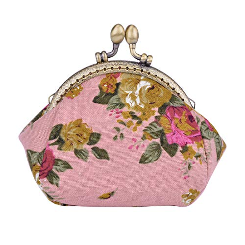 (Oyachic Printed Coin Purse Vintage Pouch Buckle Clutch Bag Kiss-lock Change Purse Floral Clasp Closure Wallets For Women Girl)