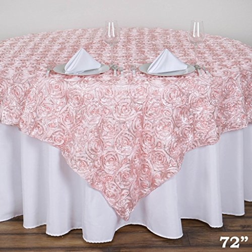 BalsaCircle 72x72-Inch Blush Raised Roses Table Overlays - Wedding Reception Party Catering Table Linens Decorations