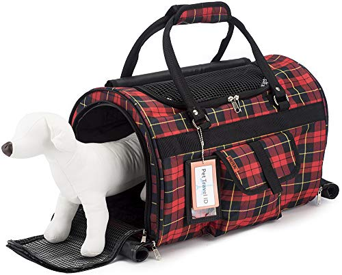 Prefer Pets Hideaway Duffel – Pet Travel Carrier – 17 L x 12 H x 10 D – Airline Approved Travel Carrier – Provides A Safe Secure Way to Travel – Helps Reduce Pet s Fear Anxiety