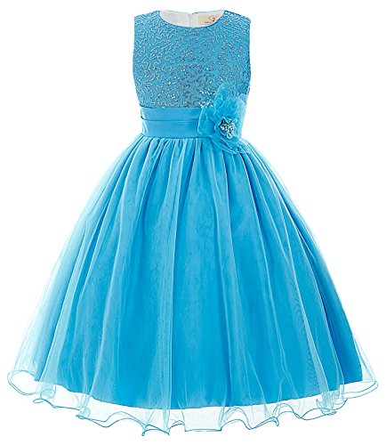 TrendyFashion Lace O-Neck Sleeveless Flower Girl Swing Dresses (9-10yrs) CL8940-3 ()