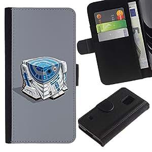 LASTONE PHONE CASE / Lujo Billetera de Cuero Caso del tirón Titular de la tarjeta Flip Carcasa Funda para Samsung Galaxy S5 V SM-G900 / Character Blue White Beeping Movie