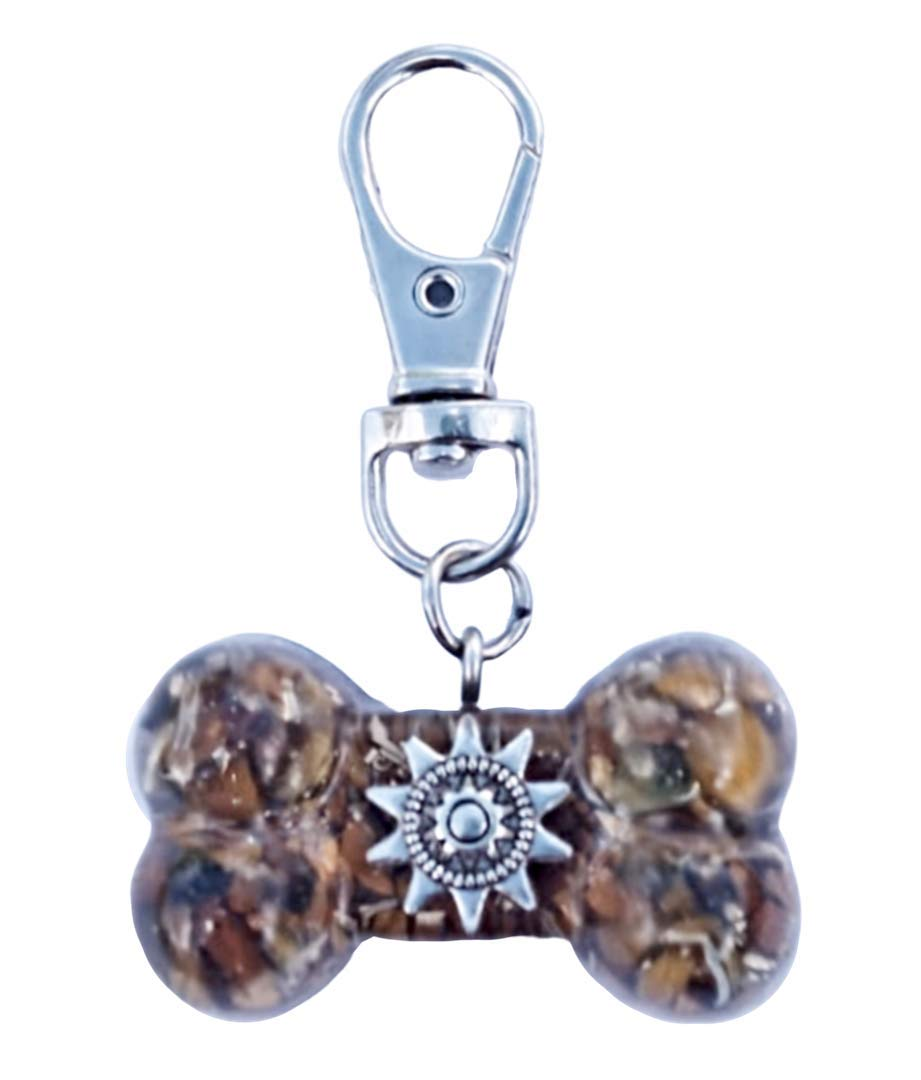 EMF Protection Pet Orgone Hubbering Fur Buddies Dog Bone Orgonite Collar Charm With Tiger Eye and Copper