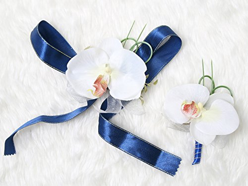 Tropical Wedding Prom Wrist Corsage Phalaenopsis Orchids and Boutonniere Set (Navy blue (Phalaenopsis Corsage)