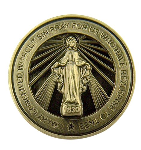 Silver Tone Faithful Protector Pocket Token with Prayer - Miraculous Medal