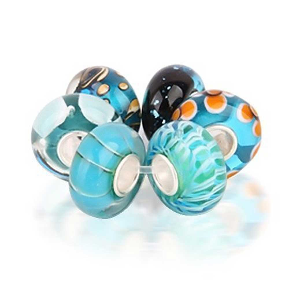 Set of Six Bundle Orange Simulated Blue Topaz Murano glass Lampwork Bead Charm .925 Sterling Silver