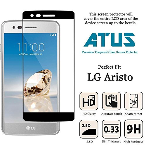 LG Aristo Screen Protector, LG Phoenix 3, LG K8 2017 Compatible, ATUS Superior Protection Coverage Ultra-Thin Toughened Shatterproof [Tempered Glass] Screen Protector [Life-Time Warranty] (1-Pack) ()