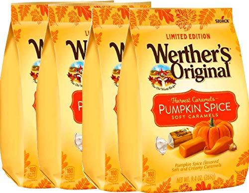 NEW Werther's Original Limited Edition Halloween Pumpkin Spice/Caramel Apple Soft Caramels - 9.4oz (Pumpkin Spice, 4)
