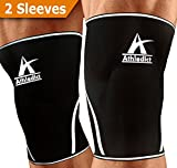Knee Sleeves Compression Support - For Weightlifting,Crossfit,Squats Performance Increase & Pain Relief (1 Pair) 7mm Neoprene Brace For Men and Women - By Athledict with 1 Year Warranty