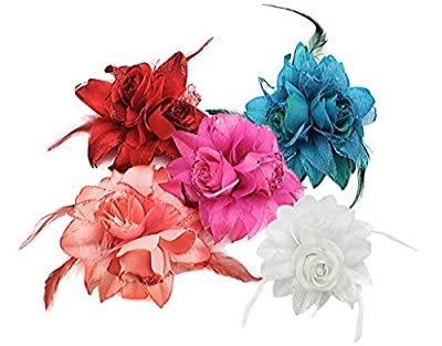 BONAMART ®Woman Lady Girl Brooch Corsage Hair Clips Accessories Feather Flower For Wedding Party
