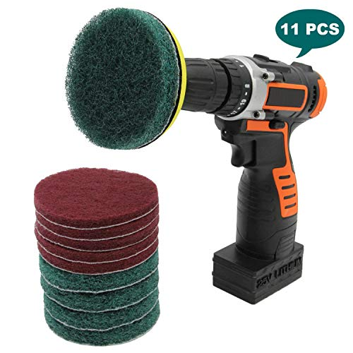 Cooptop Bathroom & Kitchen Cleaning Drill Brush Set - Power Scrub Pad Cleaning Kit - Power Scrubbing Drill Attachment - Cleaning Scouring Pads